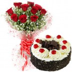 send OrderRed Roses Bunch and 500gms Black Forest Cake Delivery