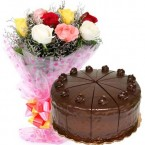 send Order500gms Chocolate Truffles Cake with Mix Roses Bunch Delivery