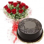 send 500gms Chocolate Truffles Cake with Red Roses Bunch delivery