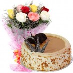 send Order500gms Butterscotch Cake with Mix Roses Bunch Delivery