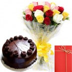 send Eggless Chocolate Truffles Cake with Mix Roses Bunch Card delivery