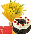 send Yellow Lilies Bunch Eggless Black Forest Cake with Greeting Card delivery