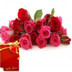 send Bunch of 15 Red Pink Roses with Greeting Card  delivery