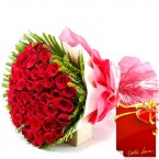 send Designer 50 Red Roses Flower Bouquet delivery