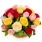 send 15 Mix Roses Basket delivery