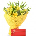 send Small Lilies Bunch With Card delivery