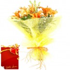 send bunch of 6 orange asiatic lillies bouquet with Card delivery