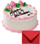 send Eggless Half Kg Strawberry Cake with Card delivery