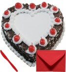 send Eggless Heart Shape Blackforest Cake 1Kg with Card delivery