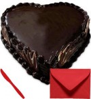 send Eggless Heart Shape Chocolate Truffle 1Kg with Card delivery
