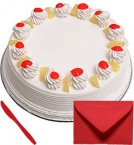 send Eggless 1Kg Pineapple Cake with Card delivery