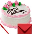 send Eggless 1Kg Strawberry Cake With Card delivery
