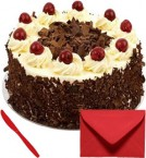 send Eggless 1Kg Black Forets Cake With Card delivery