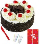 send Half Kg Eggless black Forest Cake n Greeting Card For Any Occasion  delivery