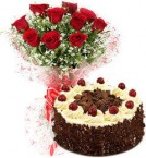 send Eggless Black Forest Cake N Red Roses Bouquet delivery
