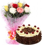 send Eggless Black Forest Cake n Mix Roses delivery
