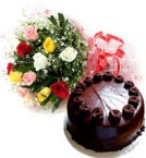 send Eggless Chocolate Cake n Mix Roses Bouquet delivery