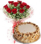 send Eggless Butterscotch Cake n Red Roses delivery