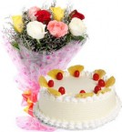 send Eggless Pineapple Cake n Mix Roses  delivery