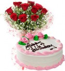 send Eggless Strawberry Cake n Red Roses Bouquet delivery