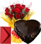 send 1Kg Eggless Heart Shape Chocolate Cake n Roses Bouquet delivery