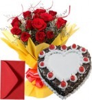 send 1Kg Eggless Heart Shape Black Forest Cake n Red Roses Bouquet delivery