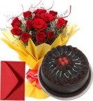 send 1Kg Eggless Chocolate Cake n Red Roses Bouquet delivery
