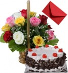 send 1 kg Eggless Black Forest Cake n Mix Roses Basket delivery