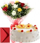 send 1Kg Eggless Pineapple Cake n Mix Roses  delivery