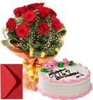 send 1Kg Eggless Strawberry Cake n Red Roses Bouquet delivery