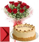 send 1Kg Eggless Butterscotch Cake n Red Roses delivery
