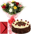 send 1Kg Eggless black Forest Cake n Mix Roses  delivery
