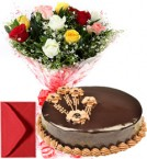 send 1Kg Eggless Chocolate Cake n Mix Roses  delivery