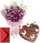 send Eggless Hart Shape Black Forest n Orchid Bouquet delivery