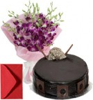 send Orchids Bouquet n Small Eggless Chocolate Cake delivery