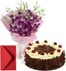 send Orchids Bouquet n Half Kg Eggless Black Forest Cake delivery