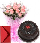send Pink Roses Bouquet Half Kg Eggless Chocolate Cake delivery