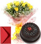 send Yellow Roses Bouquet Half Kg Eggless Chocolate Cake delivery