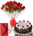 send Big Roses Bouquet n Eggless Black Forest Cake  delivery