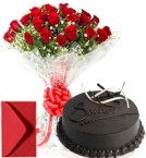 send Big Roses Bouquet n Eggless Chocolate Cake delivery