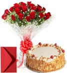 send Big Roses Bouquet n Eggless Butterscotch Cake delivery