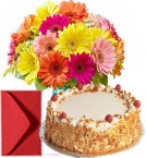 send Bouquet of Mixed Gerberas n Half kg Eggless Butterscotch Cake delivery