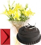 send Lilies Bouquet n Eggless Chocolate Cake delivery