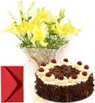 send Lilies Bouquet  n Eggless Black Forest Cake delivery