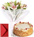 send Lilies Bouquet n Eggless Butterscotch Cake delivery
