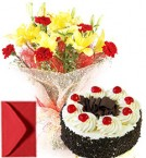 send Best Lilies Bouquet n Eggless Black Forest Cake n Card  delivery