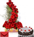 send Just Roses Bouquet n Eggless Black Forest Cake delivery