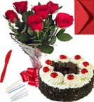 send Any Occasion Eggless Black Forest Cake n Roses Bunch  delivery