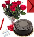 send Any Occasion Eggless Chocolate Truffle Cake n Roses Bunch  delivery