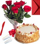 send Any Occasion Eggless Butterscotch Cake n Roses Bunch delivery